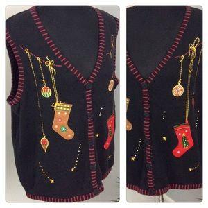 Christmas Holiday Sweater Vest Black Oversized XL